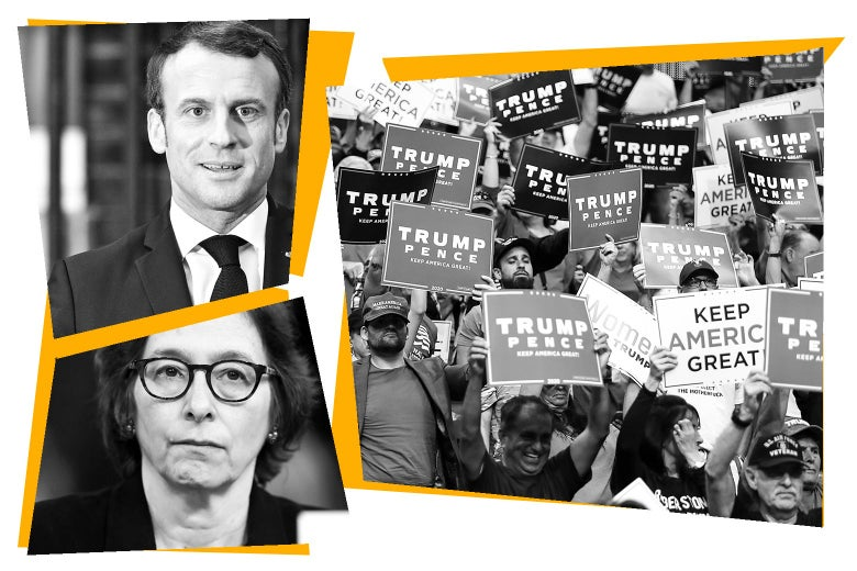 Photo collage of Emmanuel Macron, Pamela Karlan, and a Trump rally.