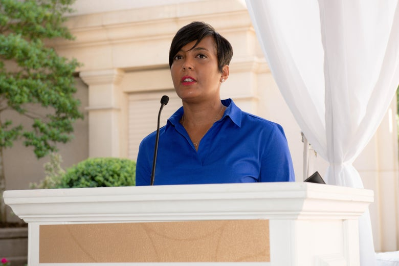 Keisha Lance Bottoms speaks at a podium
