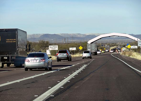 The I 19 Checkpoint North Of Tubac In Southern Arizona Is The Largest Checkpoint In The State And Can Create Traffic Jams On The Highway