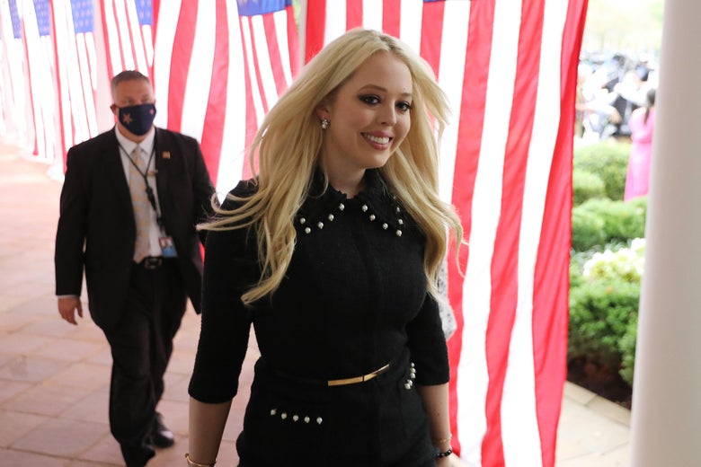 Tiffany Trump, daughter of President Donald Trump, arrives for a ceremony where her father will introduce 7th U.S. Circuit Court Judge Amy Coney Barrett, 48, as his nominee to the Supreme Court in the Rose Garden at the White House Sept. 26, 2020, in Washington, D.C.