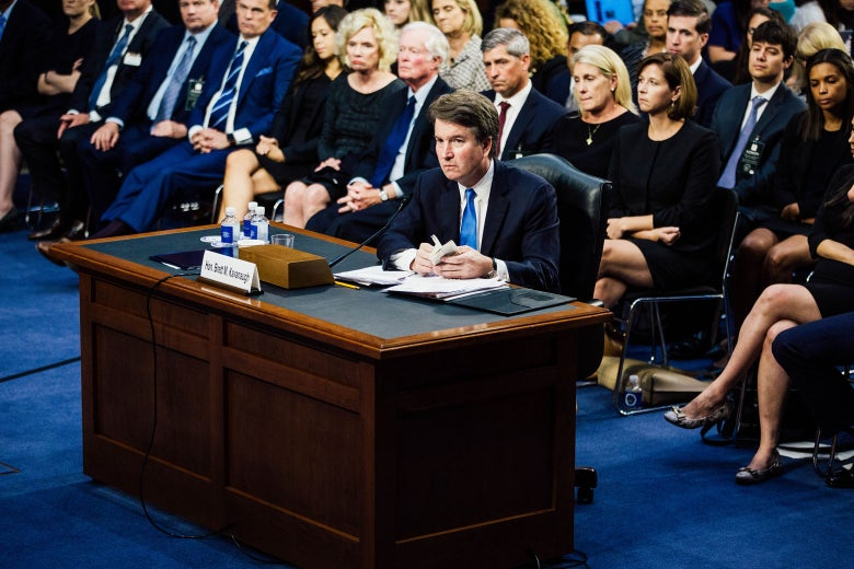 Brett Kavanaugh testifies during the second day of his Supreme Court confirmation hearing.