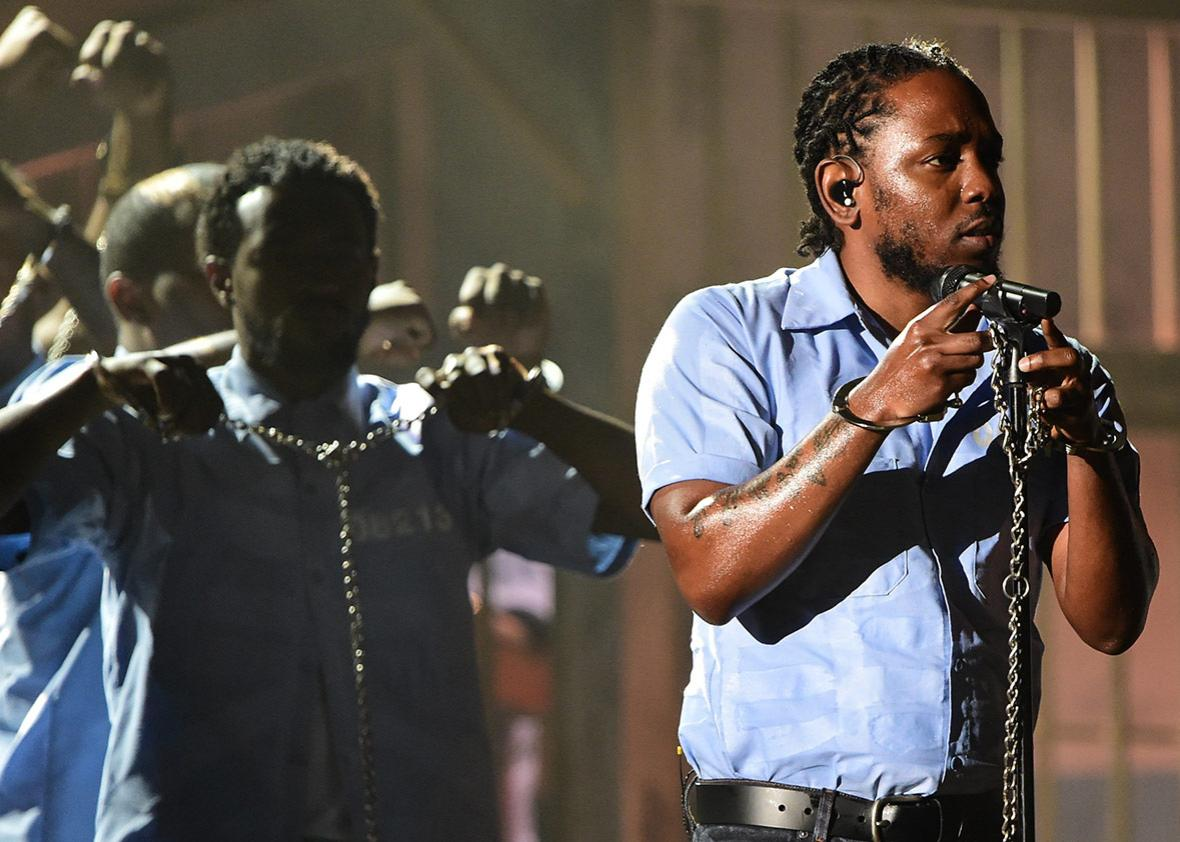 Taylor Swift, Ed Sheeran, and Mark Ronson might have won the night's biggest awards, but it's performances like Kendrick Lamar's that we'll remember.