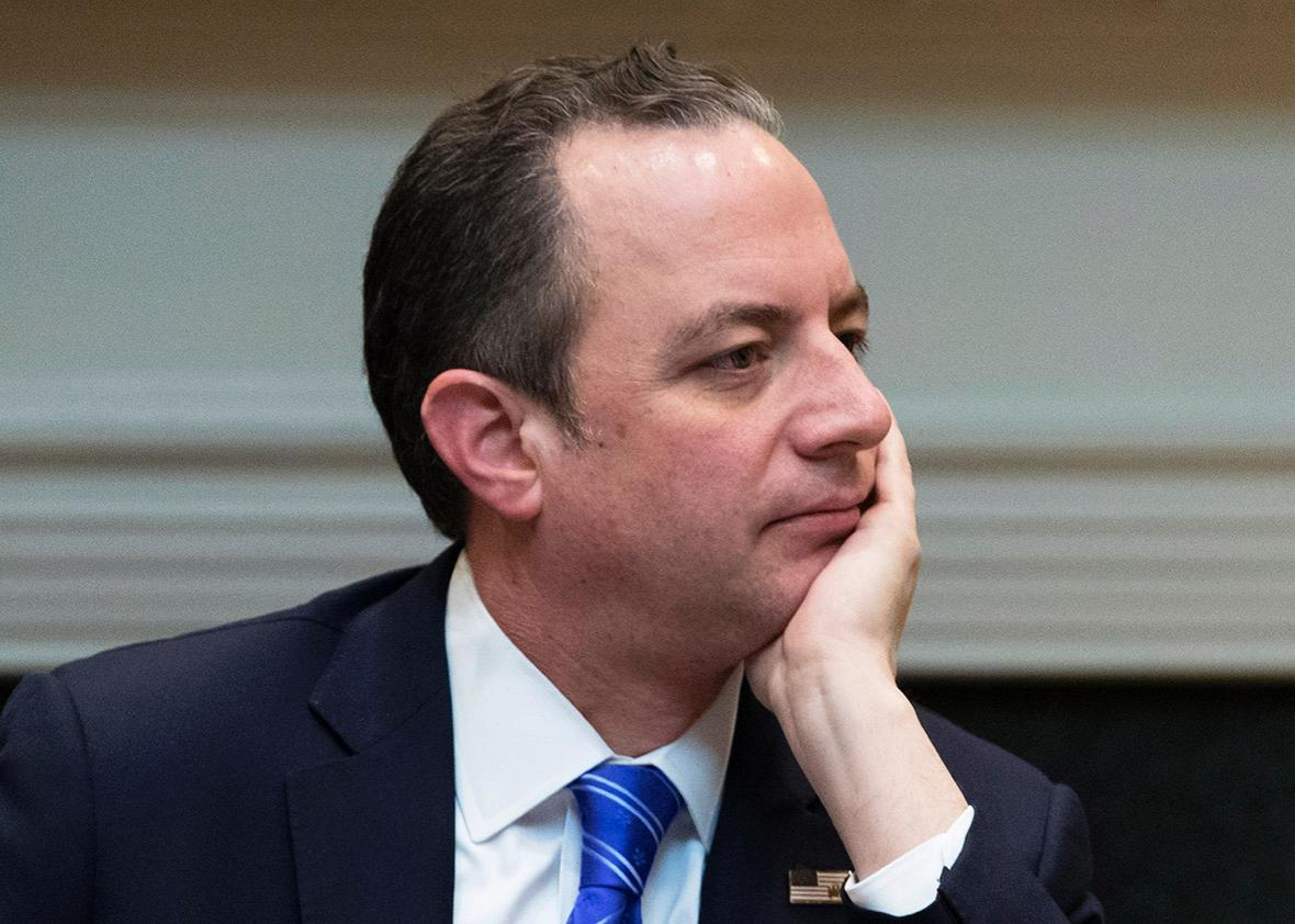 White House Chief of Staff Reince Priebus attends an African American History Month listening session held by President Donald Trump in the Roosevelt Room of the White House on February 1, 2017 in Washington, DC.
