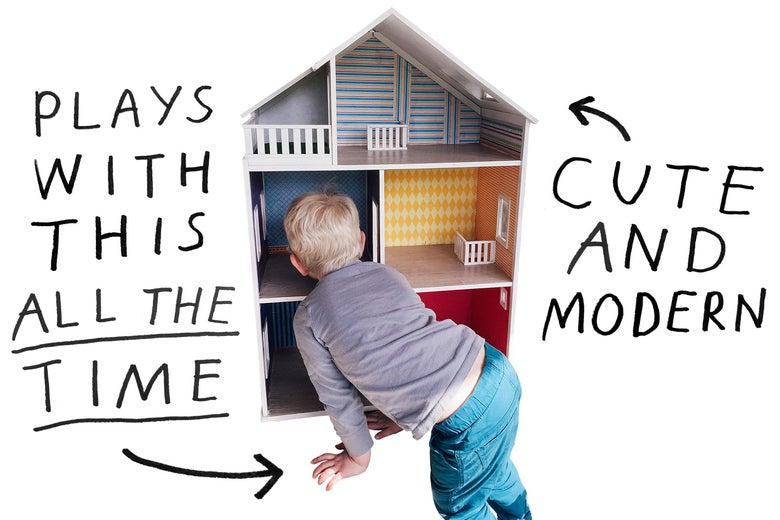 Child playing with dollhouse.