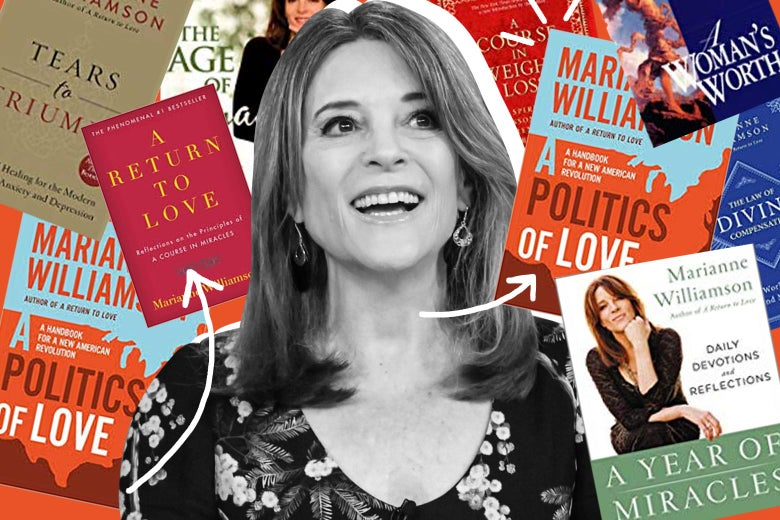 Marianne Williamson, surrounded by her books.