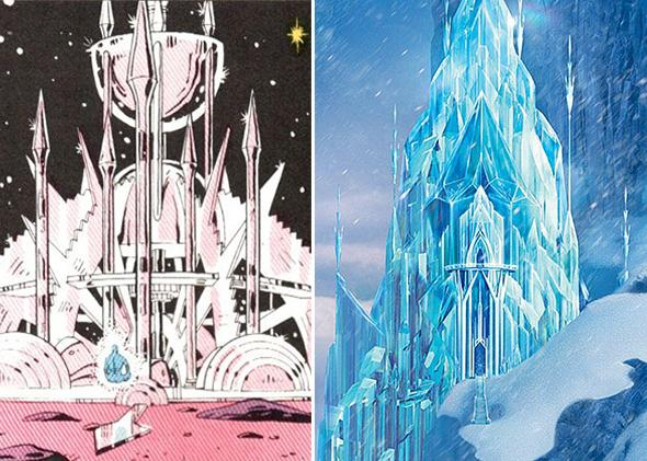 """Frozen's """"Let It Go"""" sequence (right), Dr. Manhattan on Mars (left)"""