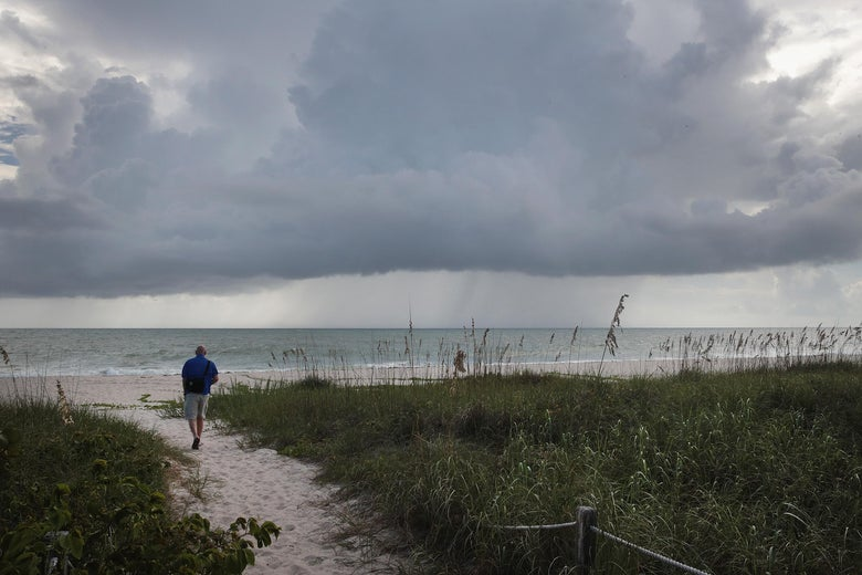 Rain clouds move toward shore as as Hurricane Dorian churns off the coast on August 31, 2019 near Fort Pierce, Florida.