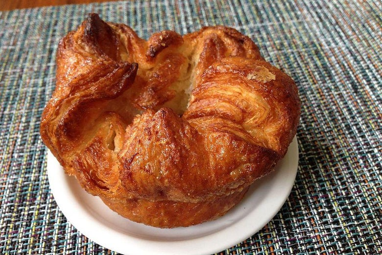 A pastry on a white plate.