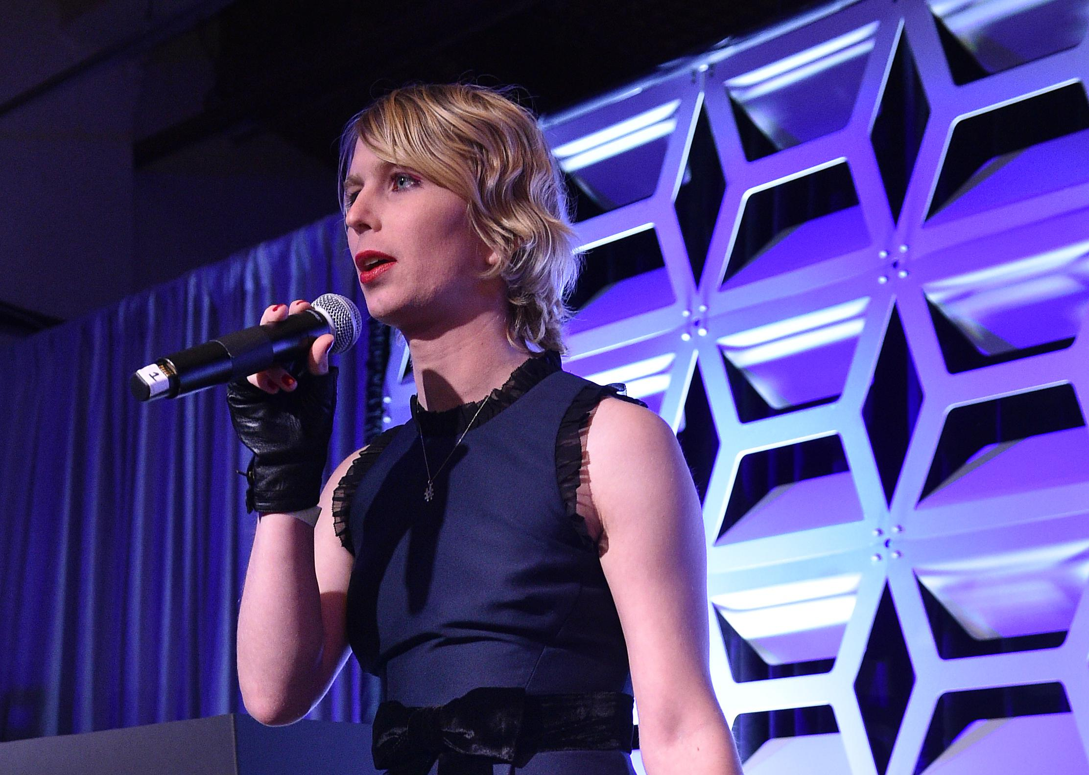 OUT100 Newsmaker of the Year Chelsea Manning speaks on stage during OUT Magazine #OUT100 Event presented by Lexus at the the Altman Building on November 9, 2017 in New York City.