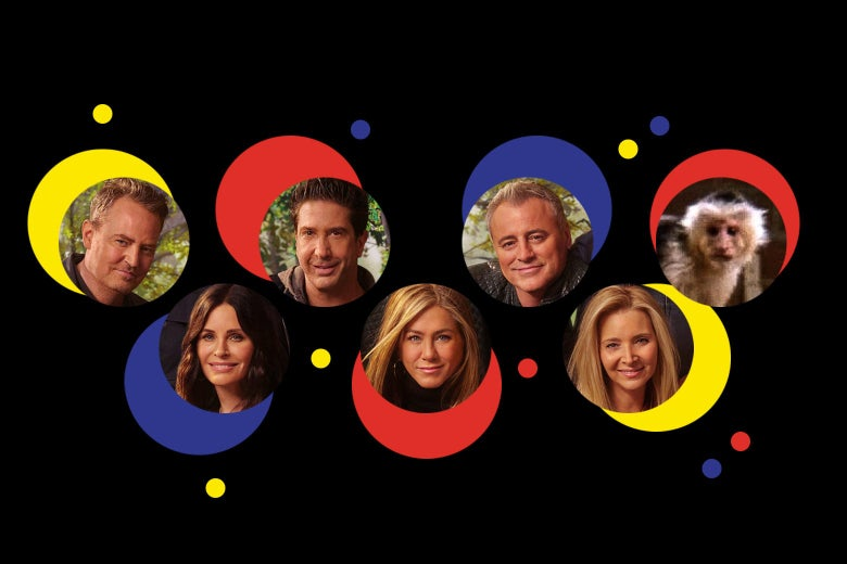 Inside colorful red, yellow, and blue bubbles, photos of the cast of Friends: Matthew Perry, Courteney Cox, David Schwimmer, Jennifer Aniston, Matt LeBlanc, Lisa Kudrow, and a capuchin monkey.