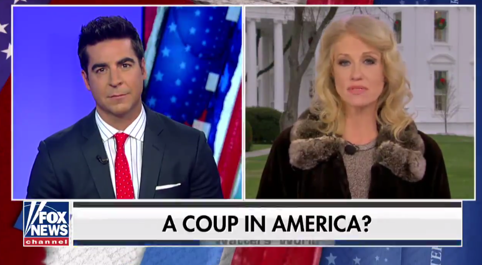 "Fox News host Jesse Watters interviews White House adviser Kellyanne Conway with a chyron that reads, ""A coup in America?"""