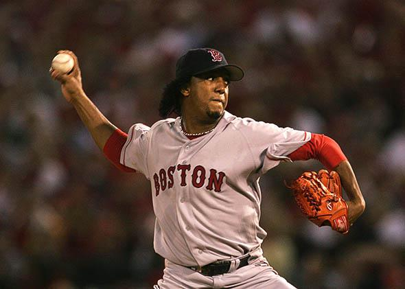 Starting pitcher Pedro Martinez #45 of the Boston Red Sox.