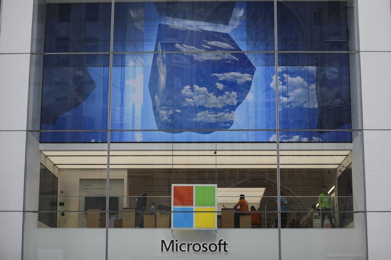 NEW YORK, NY - JUNE 4: The  Microsoft store on Fifth Avenue in Midtown Manhattan is shown June 4, 2018 in New York City. Microsoft officially announced today an agreement to buy GitHub, a code repository company popular with software developers, for $7.5 billion in stock. (Photo by Drew Angerer/Getty Images)
