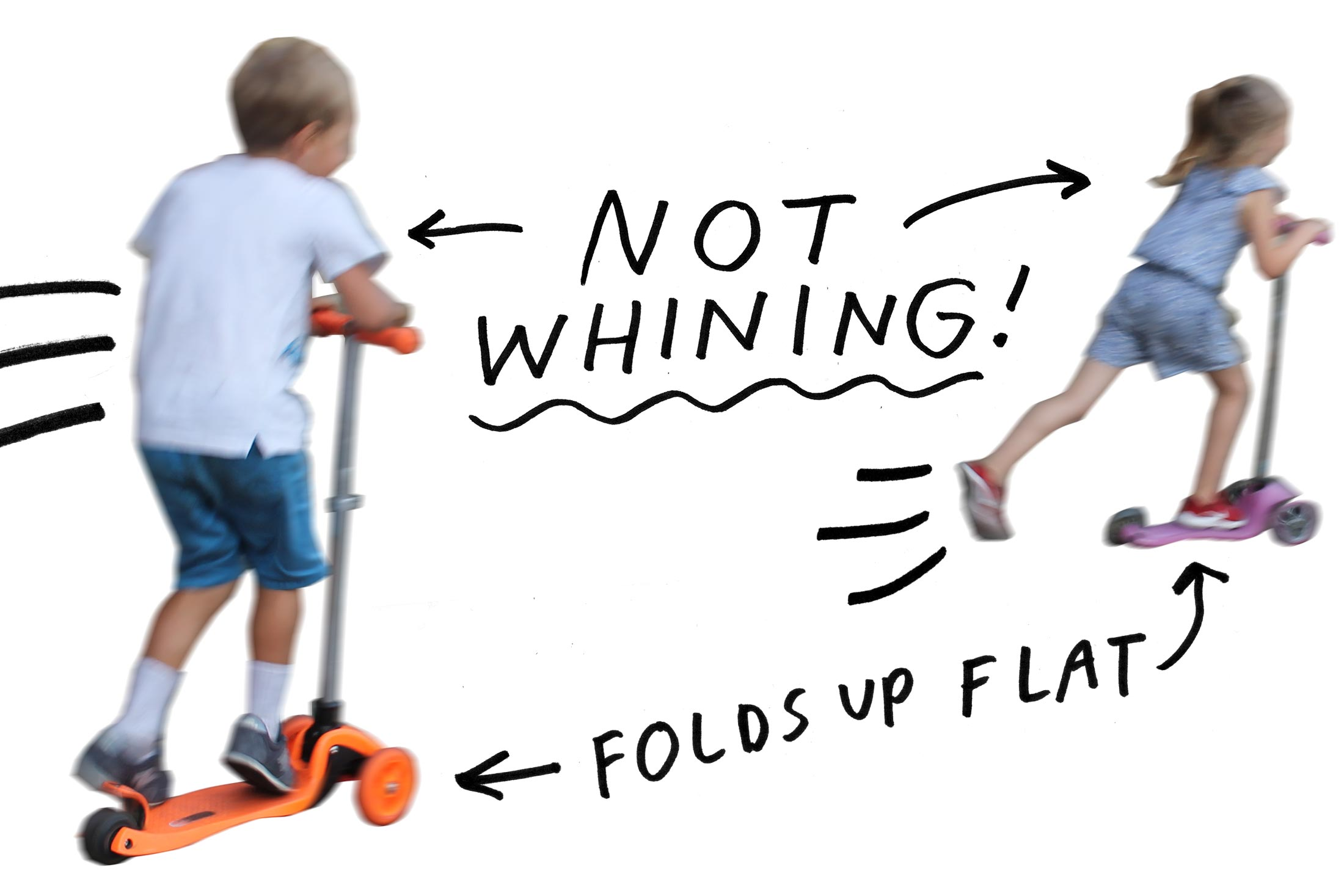 Kids moving quickly without any trace of whining on three wheeled scooters.