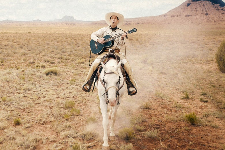Tim Blake Nelson riding a horse and playing the guitar in this still from The Ballad of Buster Scruggs.
