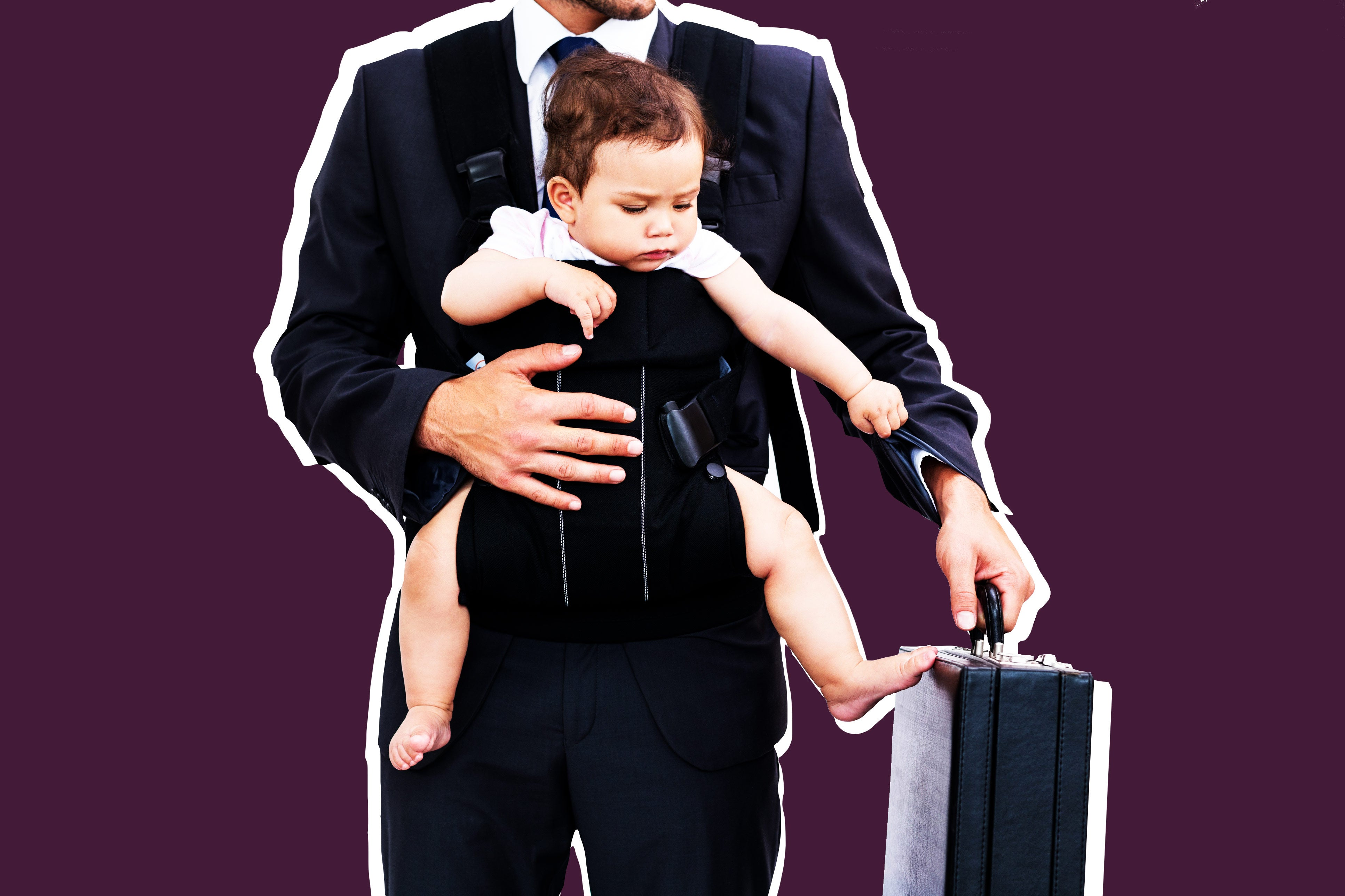 Young father carrying baby and holding briefcase.