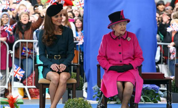 Queen Elizabeth II and the Duchess of Cambridge Catherine.