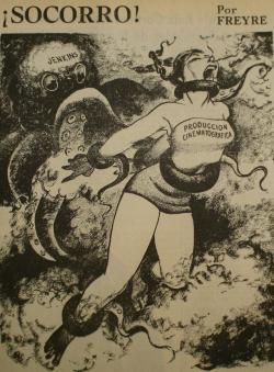 Jenkins was often criticized as a monopolist. This 1953 cartoon shows him strangling Mexico's film industry, since he favored Hollywood fare at his dominant chain of movie theaters.