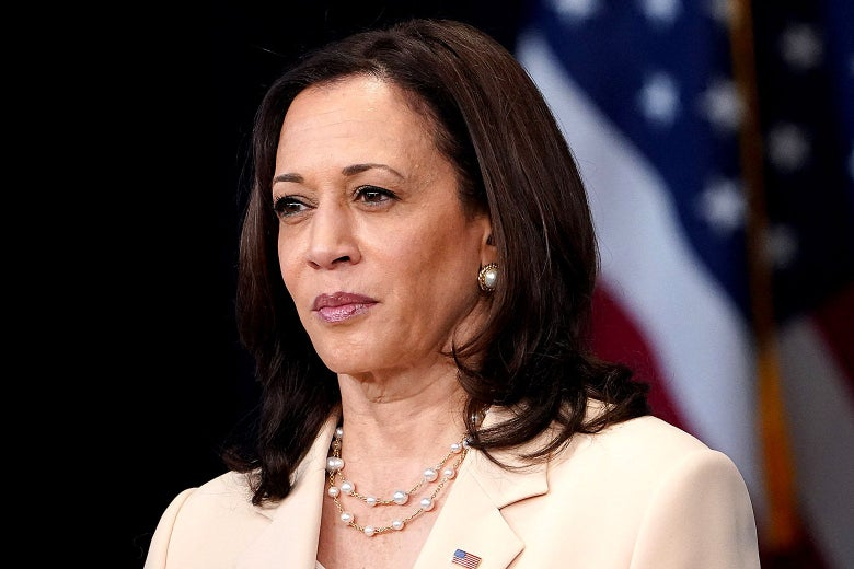 Kamala Harris staring with a concerned look.