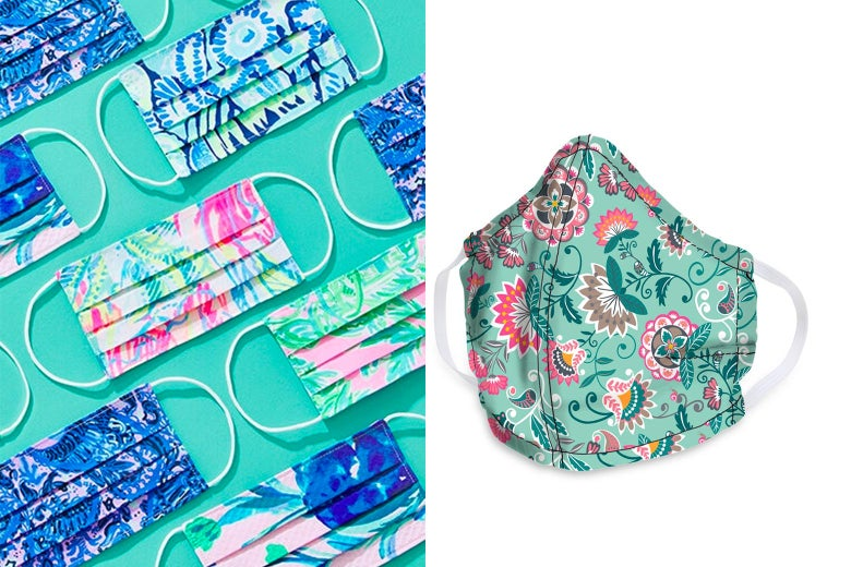 Side-by-side photos of colorful patterned masks by Lilly Pulitzer and a blue face mask with a pink paisley design by Vera Bradley