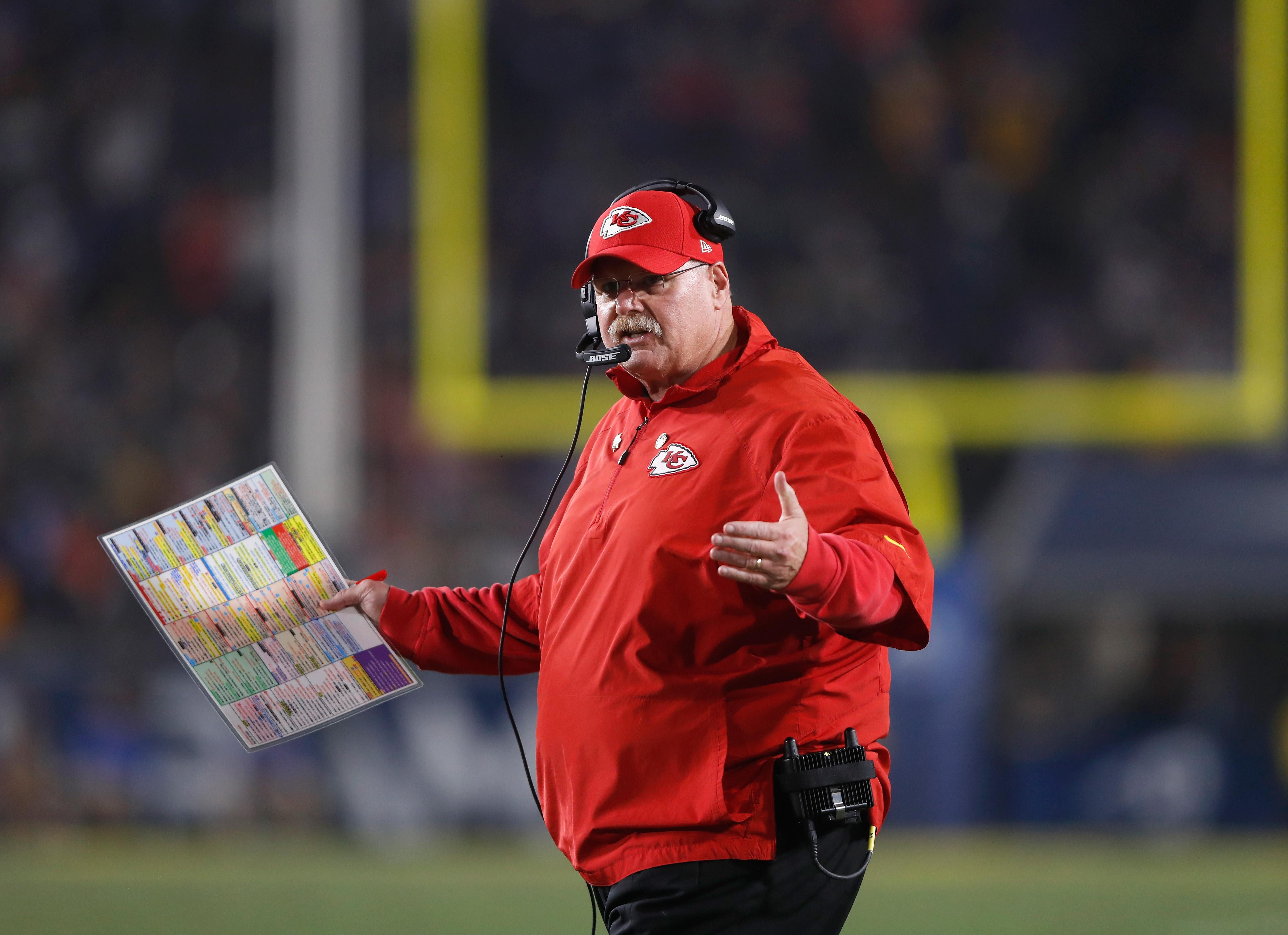 LOS ANGELES, CA - NOVEMBER 19:  Head coach Andy Reid of the Kansas City Chiefs reacts to a referee decision during the second quarter of the game against the Los Angeles Rams at Los Angeles Memorial Coliseum on November 19, 2018 in Los Angeles, California.  (Photo by Sean M. Haffey/Getty Images)