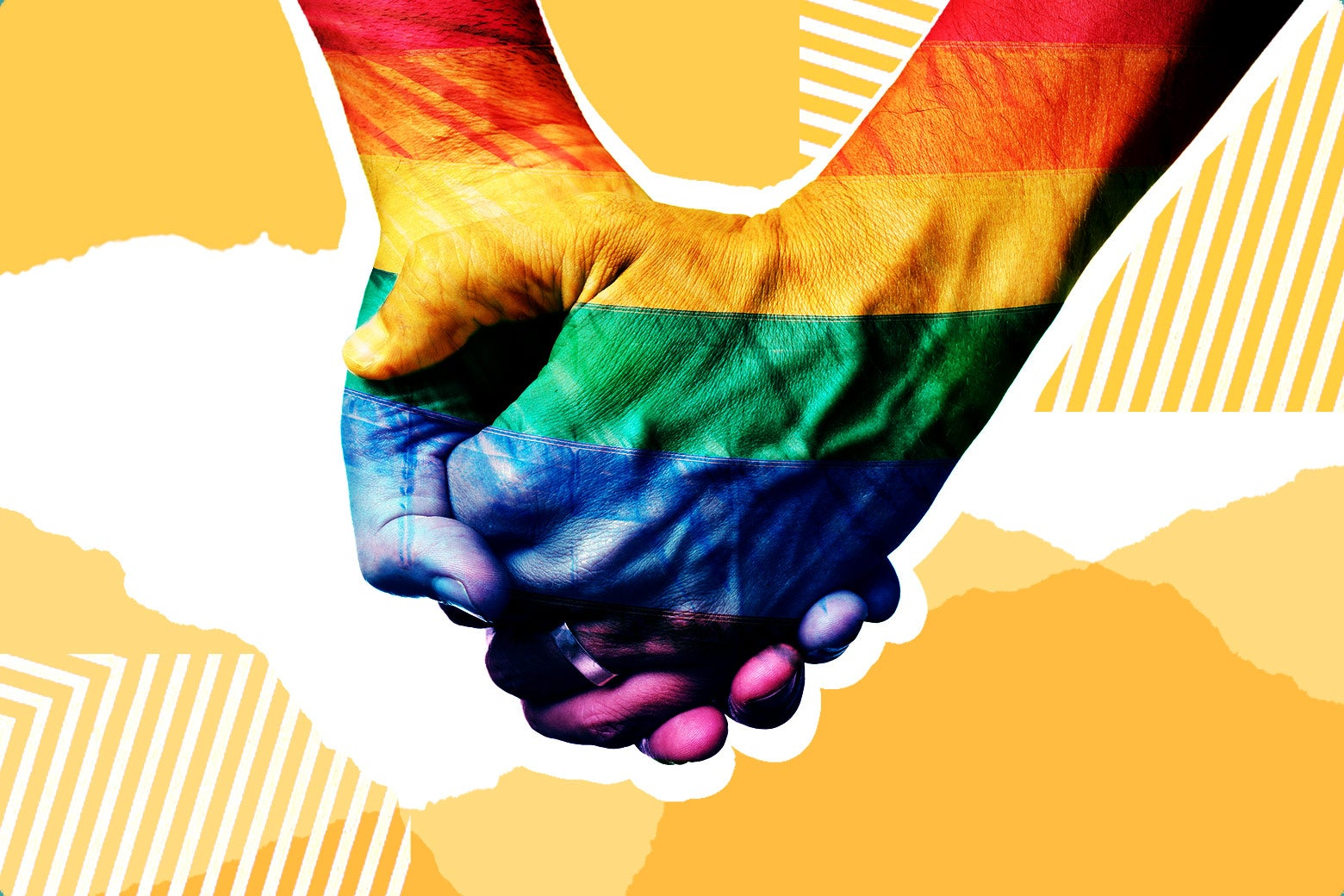 LGBQT holding hands.