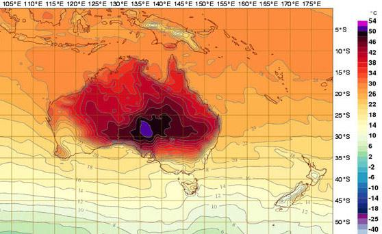 Predicted heat wave map for Australia