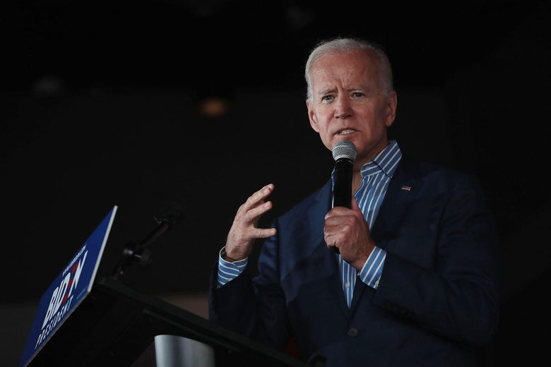 Joe Biden speaks during a campaign event at the Big Grove Brewery and Taproom on Wednesday in Iowa City.