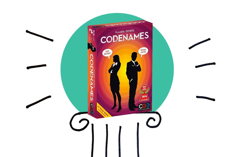 A photo illustration of Codenames on a pedestal