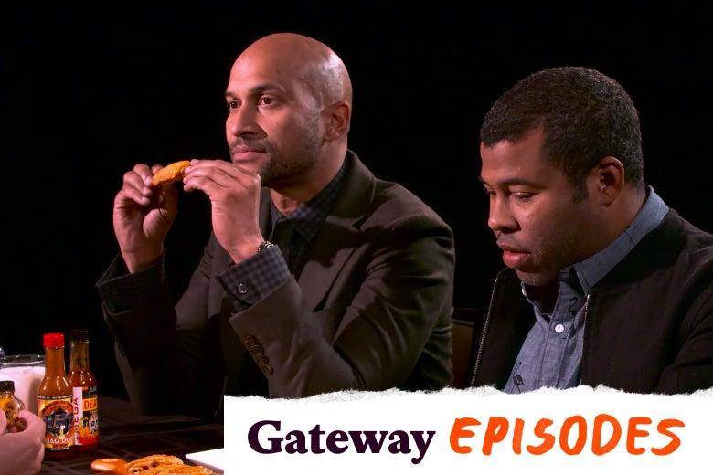 Keegan-Michael Key and Jordan Peele eating very, very hot wings.