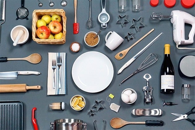 assorted kitchen tools and dishware
