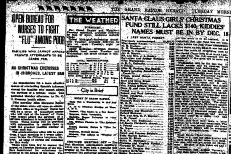 "A headline says, ""OPEN BUREAU FOR NURSES TO FIGHT 'FLU' AMONG POOR"" in an old newspaper clipping."