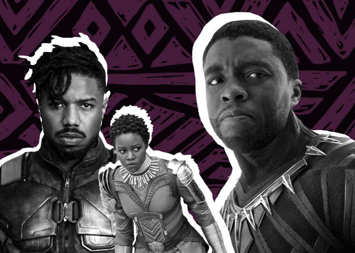 Chadwick Boseman as Black Panther, Michael B. Jordan as Killmonger, and Lupita Nyong'o as Nakia