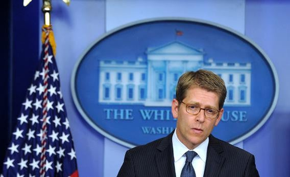 White House Press Secretary Jay Carney listens to a question during a press briefing at the White House on April 17, 2013, in Washington, D.C., on the ricin letters sent to the president and Sen. Roger Wicker.