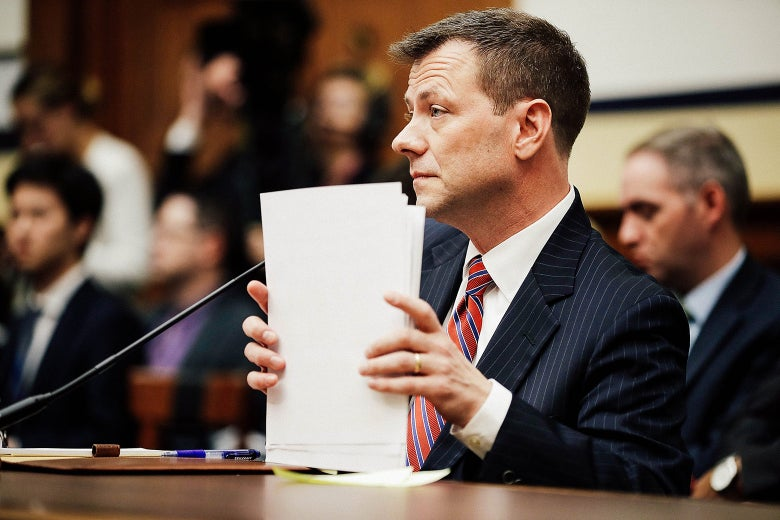 Peter Strzok testifies before a joint committee hearing on Capitol Hill on Thursday.