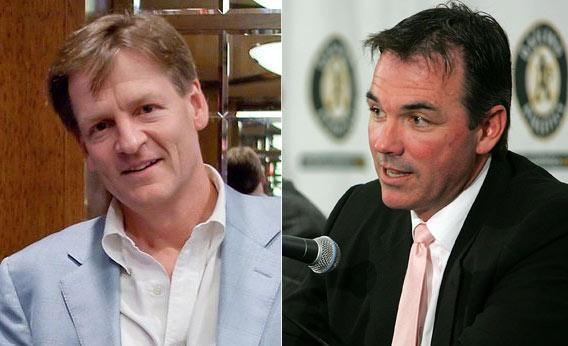 Best-selling author Michael Lewis and Oakland Athletics Vice President and General Manager Billy Beane.