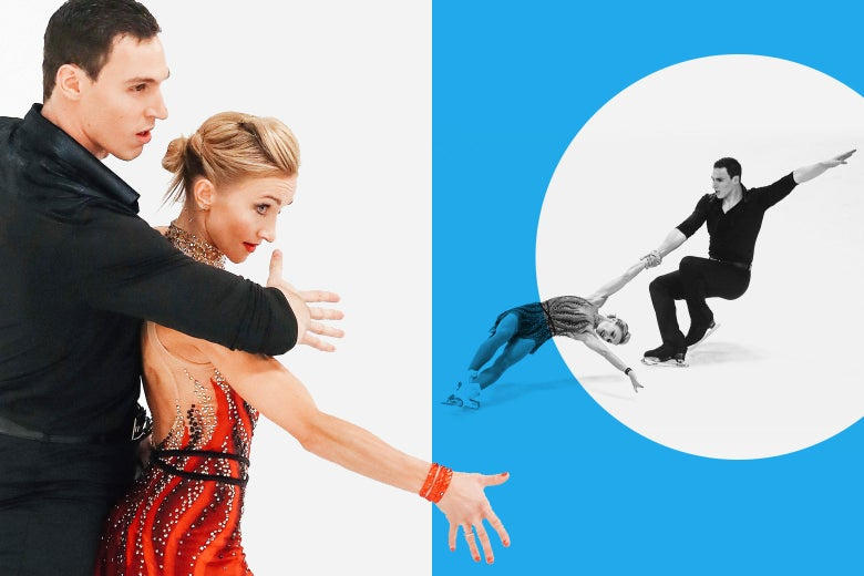 A collage of images of Aliona Savchenko and Bruno Massot skating.