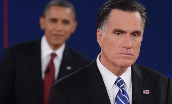 President Barack Obama and Republican presidential candidate Mitt Romney participate in the second presidential debate, at Hofstra University in Hempstead, N.Y., Oct. 16, 2012