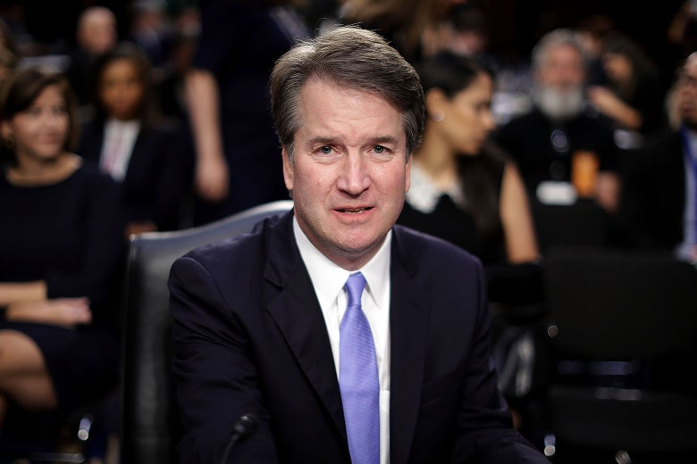 Brett Kavanaugh seated at his Supreme Court confirmation hearing.