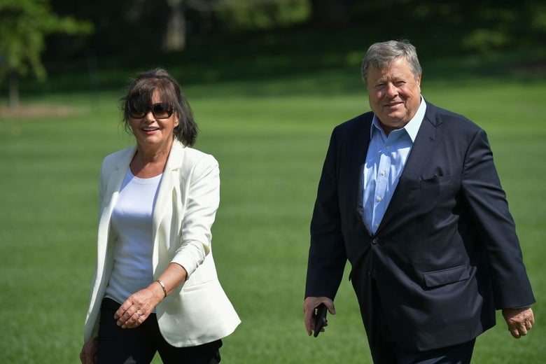 Melania Trump's parents, Viktor and Amalija Knavs, on the White House grounds on June 18, 2017.