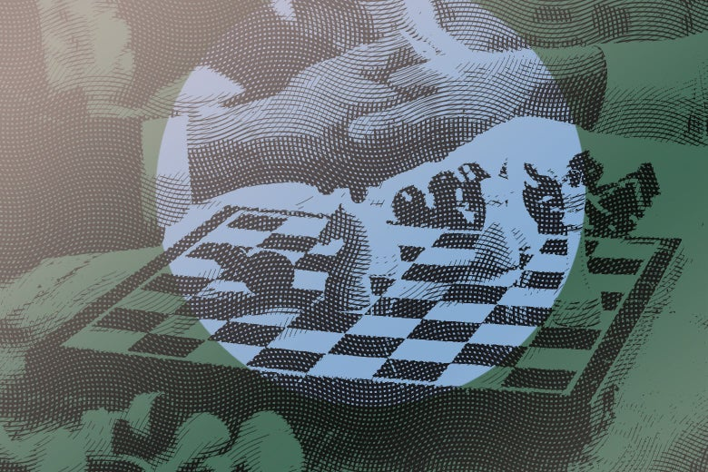 handshake over a chess board