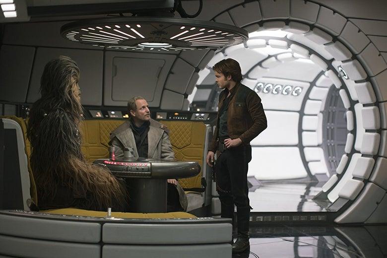 Chewbacca, Woody Harrelson as Tobias Beckett, and Alden Ehrenreich as Han Solo, aboard the Millennium Falcon