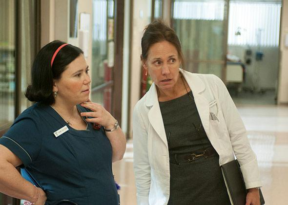 "Alex Borstein and Laurie Metcalf in HBO's ""Getting On."""