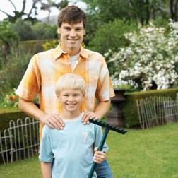 Father and son gardening.