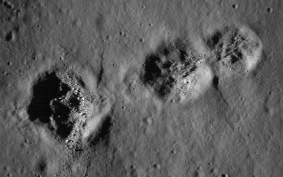 Closeup of the triple crater.