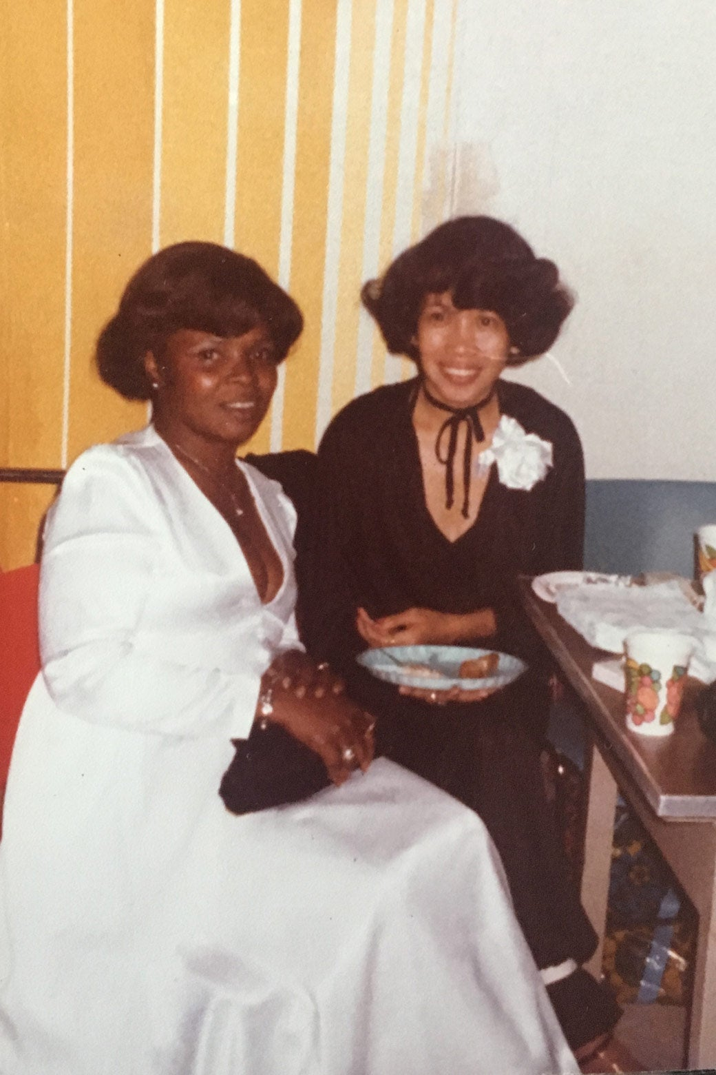 Evelyn Hill and an unidentified woman at an event.