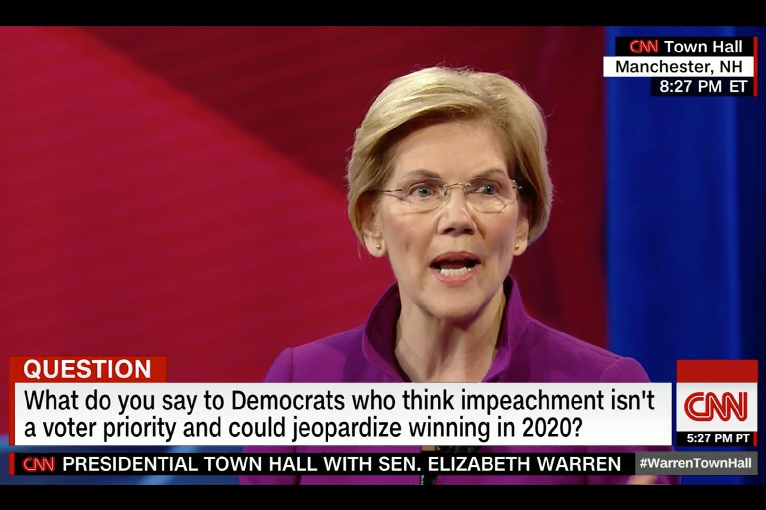 Elizabeth Warren shown on screen answering questions on CNN.