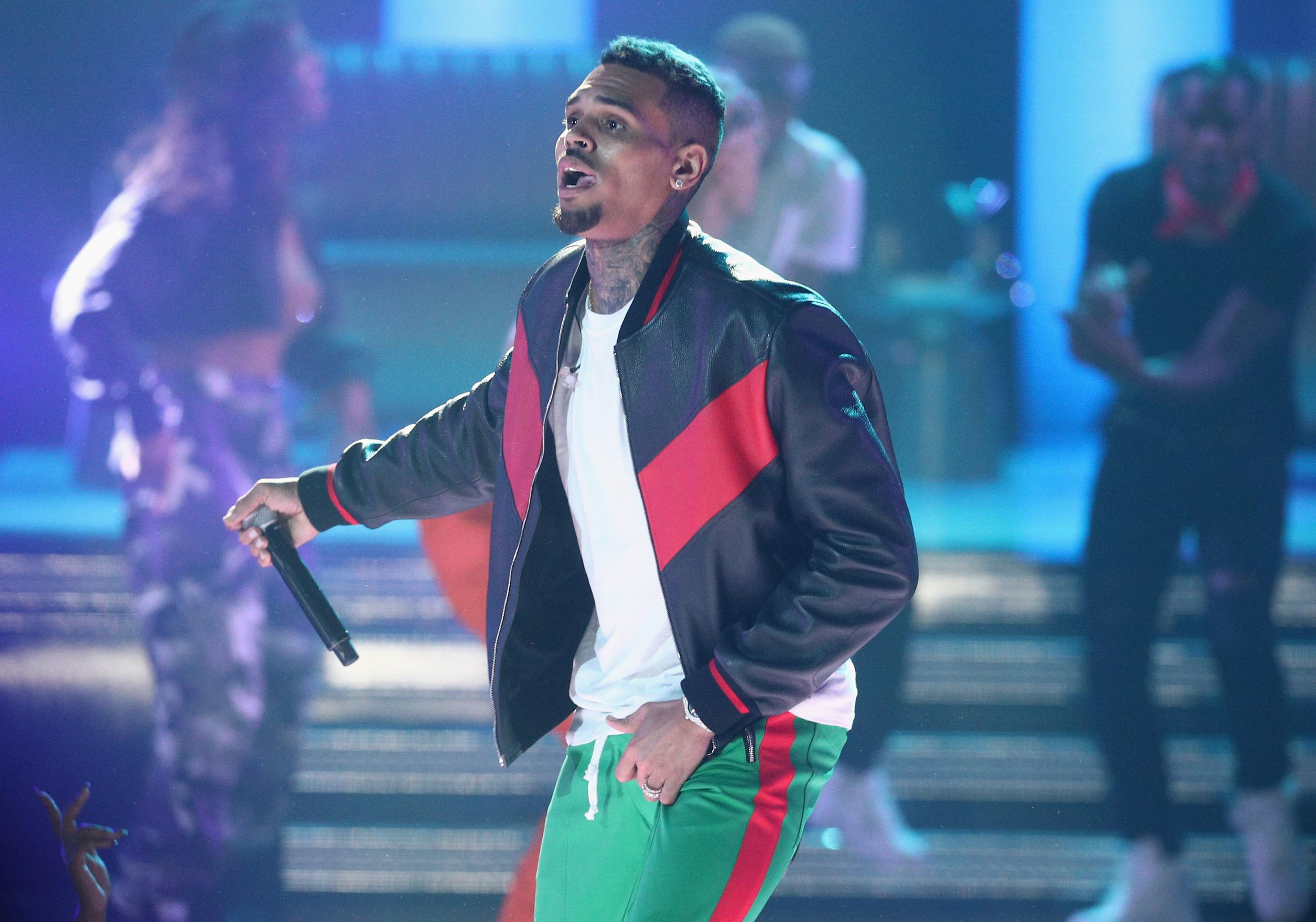 Chris Brown on stage.