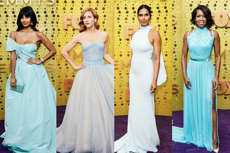 Jameela Jamil, Brittany Snow, Padma Lakshmi, and Regina King on the Emmys purple carpet.