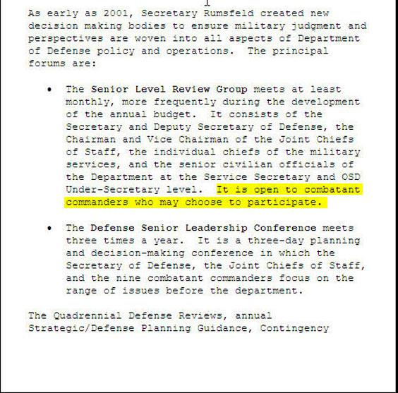 """Note the strangely diffident tone. Pointless insider detail: in Pentagon-speak, the Senior Level Review Group is """"slurg."""""""